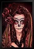 Santa Muerte Skull Dia Los Muertos Art Print Framed Poster 12x18