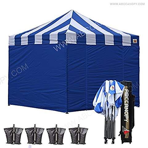 Abccanopy 10x10ft Outdoor Ez Pop Up Canopy Protable Shade Instat Folding Canopy, Commercial Level, with Wheeled Storage Bag, 6 Removable Walls , Bonus 4x Weight Bag (blue/white roof with blue (Pop Up Shelter Side)