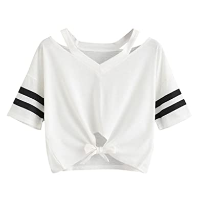 554a969fc44 Women Tops Sexyp New Ladies White Short T-Shirt Stripe Short Sleeve V Neck  Casual Crop Tops Blouse at Amazon Women s Clothing store