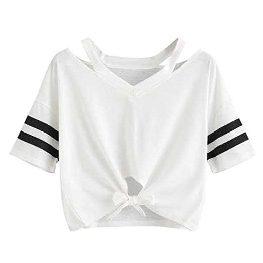 51347cc28b8ac1 Amazon.com  OOEOO Teen Girls TEE Short T-Shirt Round Neck Casual Crop Tops  Front Tie Blouse 2018  Clothing