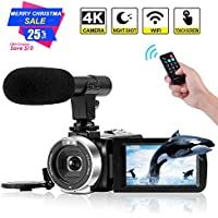 4K Camcorder Digital Video Camera WiFi Vlogging Camera...