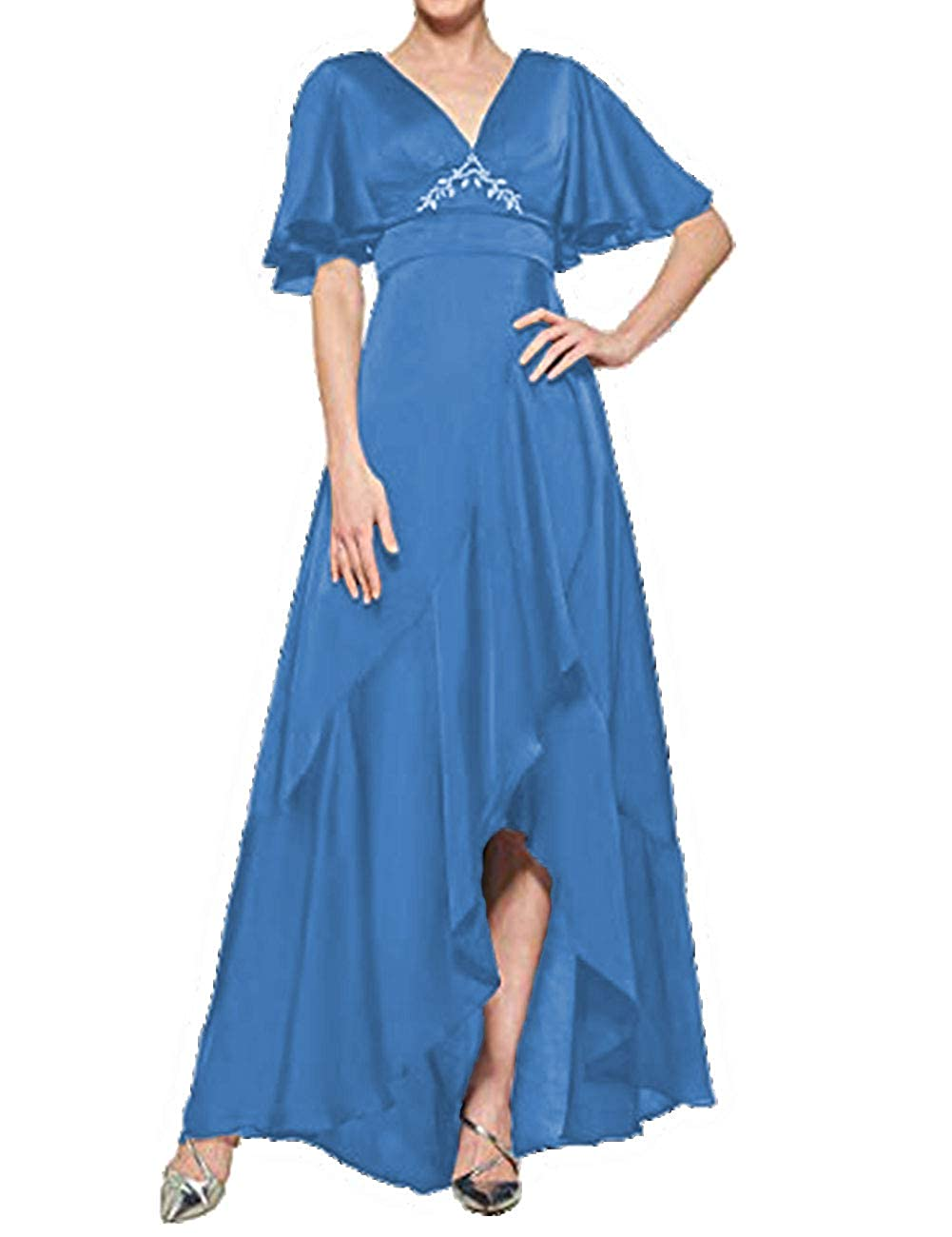 bluee H.S.D Mother of The Bride Dresses V Neck Evening Dress Asymmetrical Formal Gown Empire