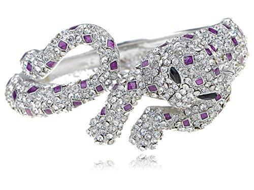 Alilang Crystal Rhinestone Royal Painted Spot Leopard Cat Animal Fashion Bangle Bracelet -