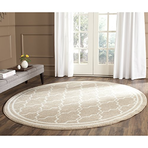 Wheat Rug (Safavieh Amherst Collection AMT414S Wheat and Beige Indoor/ Outdoor Round Area Rug (7' Diameter))