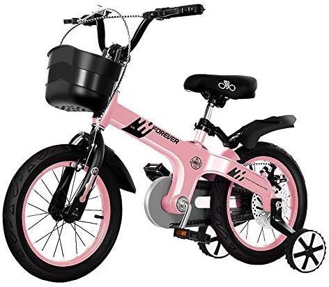 YSA キッズバイク12インチ子供用自転車おもちゃの車、フロントバスケット、トレーニングホイール、マッドガード、2〜4歳の自転車に最適