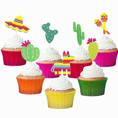 Mexican Fiesta Cupcake Topper Cactus Donkey Sombrero Pattern Party Cake Picks -