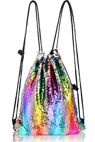 Mermaid Sequin Backpack,TUONROAD Cute Drawstring Bag Dancing Pack Fashion Bling Shining Shoulder Dance Bags For Women Girls Reversible Flip Glittering Hiking Picnicking