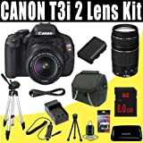 Canon EOS Rebel T3i 18 MP CMOS Digital SLR Camera with EF-S 18-55mm f/3.5-5.6 IS II Zoom Lens and EF 75-300mm f/4-5.6 III Telephoto Zoom Lens + 8GB Deluxe Accessory Kit, Best Gadgets