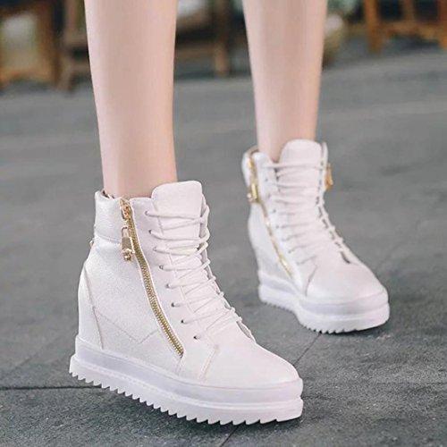 Elevin (tm) 2018 Femmes Casual Coins Plate-forme Haute Augmentation Slip Glissière Sneaker Chaussures Blanc
