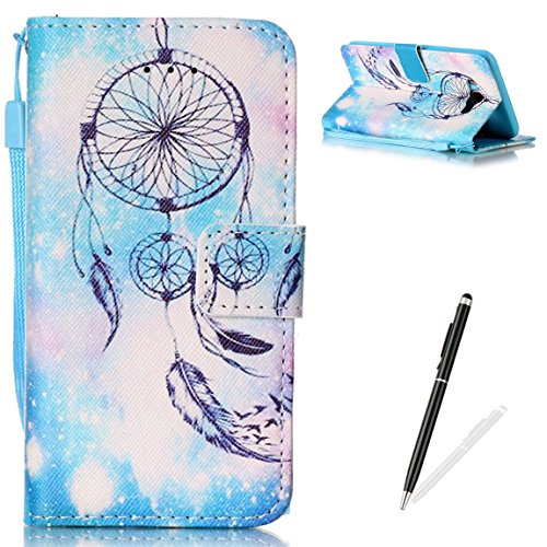 MAGQI Galaxy J7 2016 Flip Case,Colorful Vintage Series Premium Ultra Slim PU Leather Wallet Card Slots Wristlet Protective Cover for Samsung Galaxy J7 2016/J710 - Blue Wind Chime