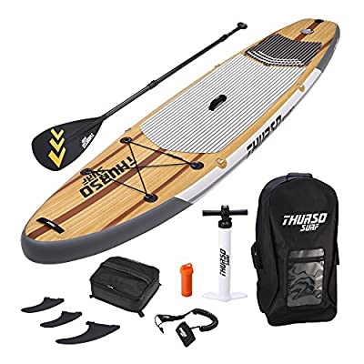 THURSO SURF Waterwalker Inflatable Stand Up Paddle Board SUP 10'6/11' Long 6'' Thick Deluxe Package Includes Carbon Shaft Paddle/2+1 Fins/Deck Bag/Leash/Pump/Backpack