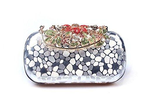 WBAG Soirée PU Diamant Pochette silver Sac de à bandoulière Multi Couleur Mariage Femme Sacs Robe Ix1Ir0