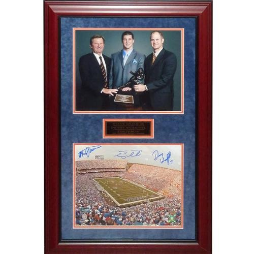Steve Spurrier, Danny Wuerffel And Tim Tebow Autographed Florida Gators Heisman Deluxe Framed Swamp 11x14 ()