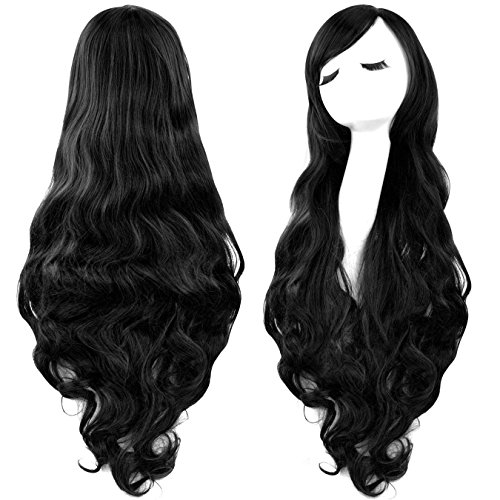 Marceline Halloween Costumes (Rbenxia Curly Cosplay Wig Long Hair Heat Resistant Spiral Costume Wigs Anime Fashion Wavy Curly Cosplay Daily Party Black 32