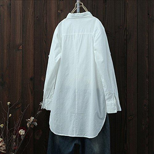 Chemisier Femmes Lin Hauts Longues Chemises YUYOUG Longue Robe Chic Manches Blouse Chemise White Rtro Coton Occasionnel UtUgv4Rwq