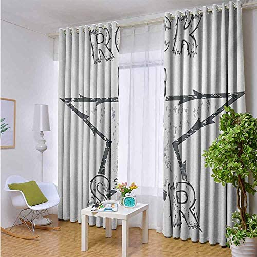 Decorative Blackout Thermal Insulated Curtains 120 W x 108 L, Popstar Party, Rock Star Theme High Sign and Star Figure Grungy Sketch Gesture Vintage, Black and White
