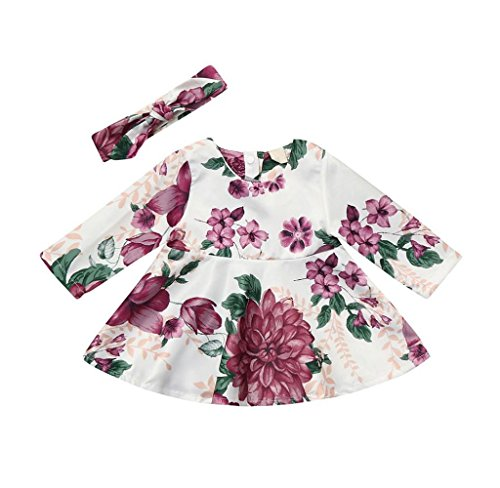 Singleluci 2PCs Baby Girls Floral Print Long Sleeve Dress A-line Dress+Headband Outfits Set (Multicolor, 0-6 Months)