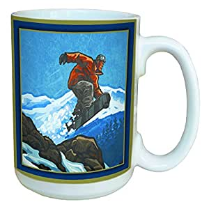 Tree-Free Greetings 46081 Paul A. Lanquist Snowboarder Ceramic Mug with Full-Sized Handle, 15-Ounce