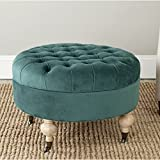 Safavieh Mercer Collection Clara Round Ottoman, Marine