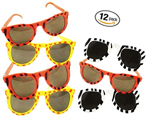Play Kreative Kid's Zoo Animal Print Sunglasses - 12 Pack - Safari Zoo Party Favors - Jungle Print Plastic Sunglasses for - Sunglasses Safari