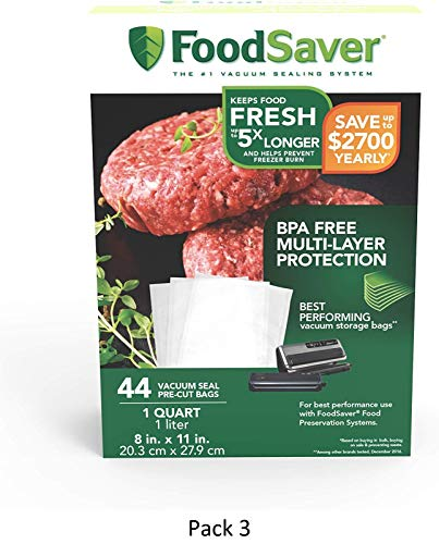FoodSaver 1-Quart Precut Vacuum Seal Bags with BPA-Free Multilayer Construction for Food Preservation, 44 Count, 3 Pack