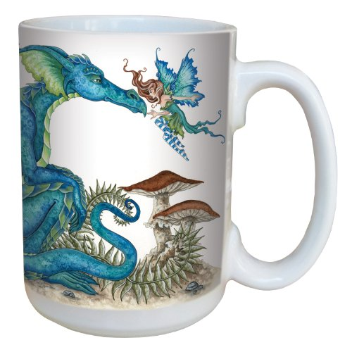 Tree-Free Greetings lm43583 Fantasy Close Encounter Dragon and Fairy Ceramic Mug with Full Sized Handle by Amy Brown, 15-Ounce