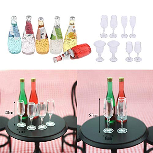 (NATFUR 14Pieces 1/12 Scale Cocktail Drink BottleGoblet Dollhouse Dining Table Accs)