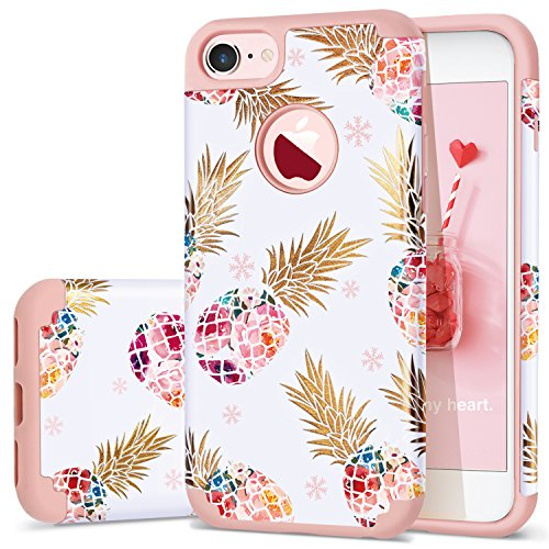 Pineapple iPhone 8 Case,iPhone 7 Case,Fingic Ultra Slim Floral Pineapple Cover Hard PC Soft Rubber Anti-Scratch Shockproof Protective Skin Cover for iPhone 7/iPhone 8,Floral Pineapple/Rose Gold