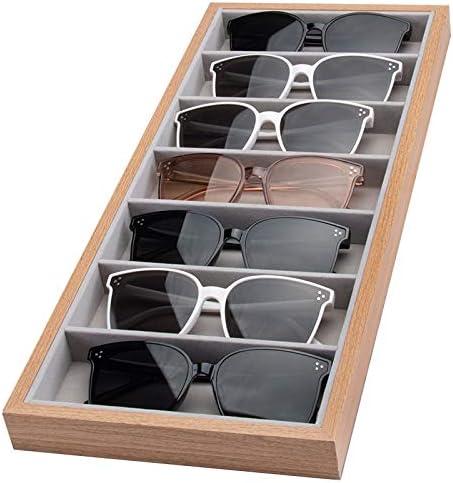 mixed24 Holz Vorlagebrett f/ür 7 Brillen Brillenkoffer Brillentablett Brillenpr/äsentation Brillenaufbewahrung Brillenbox Brillendisplay Vorzeigetablett Vorlagetablett
