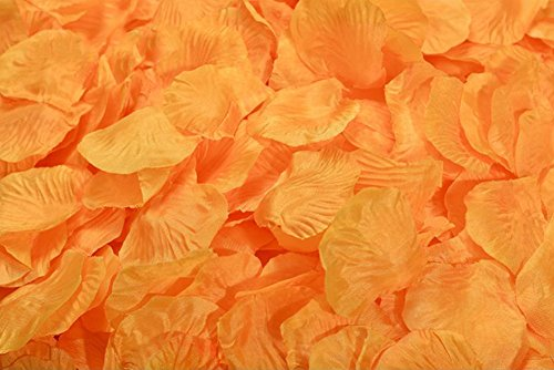 (ocharzy 1000pcs Silk Rose Petals Wedding Flower Decoration (Orange))