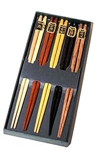 Chopsticks Reusable Simple Luxury Natural Wooden Unique Multicolored Multicultural Ancient Asian non-roll Reusable Classic Style 5-piece Set