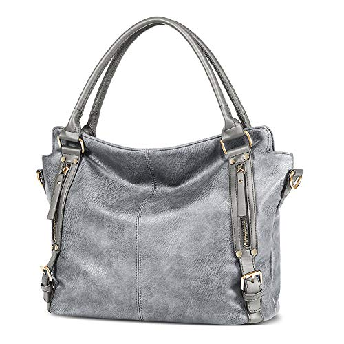 Panzexin Women Handbags, Vintage Large Capacity Shoulder Bags Tote, Chic PU Leather Handbags Silver