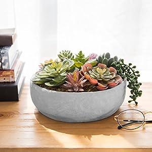 MyGift 8-Inch Artificial Succulent Plant Arrangement in Concrete Pot 4