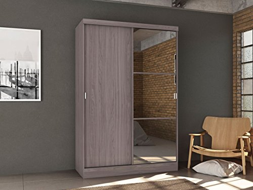 Home Source Wardrobe With Sliding Doors, Grey -