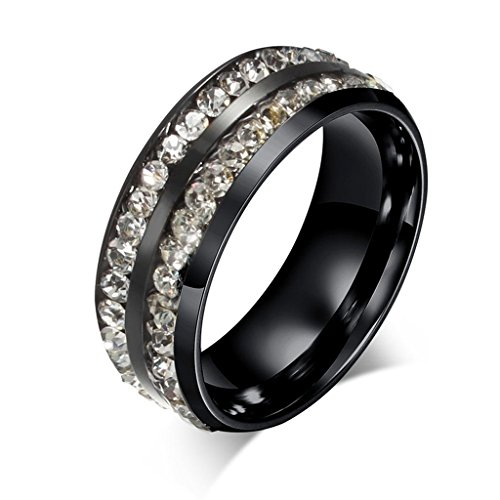 Alimab Jewelery Mens Womens Rings Stainless Steel Two Line CZ Round (Cluster Gear Image)