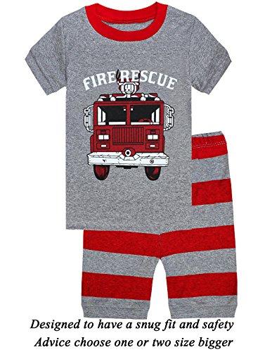 d847404a6 Galleon - Little Cat Boys Pajamas 100% Cotton Firetruck Short Kids ...
