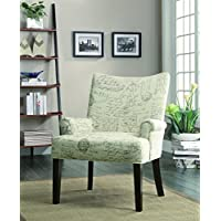Coaster Home Furnishings French Script Pattern Accent Chair Off White and Cappuccino