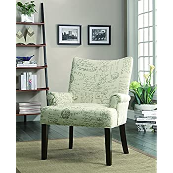Marvelous Coaster Casual Off White French Script Pattern Accent Chair