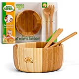 Bamboo Feeding Set 3pc includes Bowl, Spoon and Fork, BPA Free - Infant and Kid Friendly