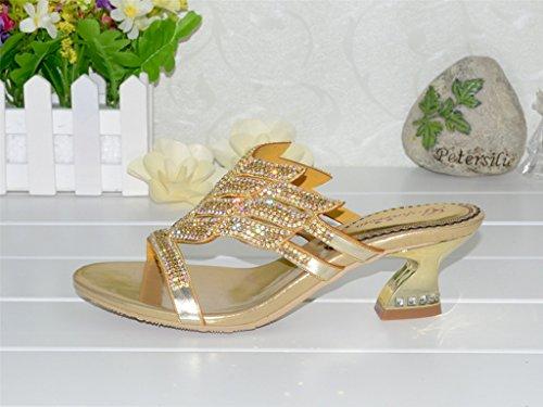 Crc Womens Unico Sparrow Sparkle In Pelle Di Strass Prom Sandali Sandali Da Festa Flared Heel-gold