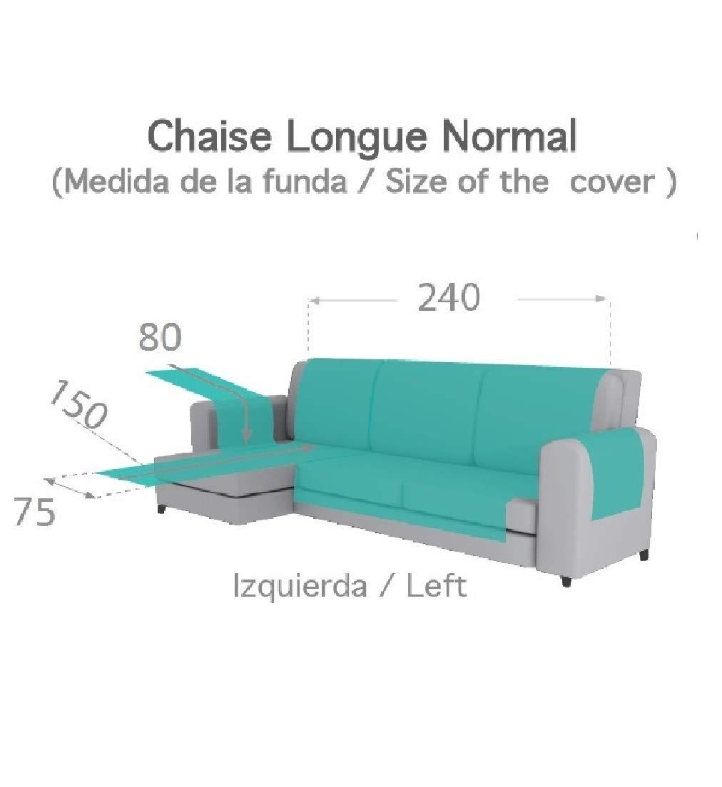 textil-home Funda Cubre Sofá Chaise Longue Adele, Protector para Sofás Acolchado Brazo Izquierdo. Tamaño -240cm. Color Marrón (Visto DE Frente)