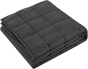 Weighted Blanket (5 Lbs - 90120CM),Organic Cooling Cotton & Premium Glass Beads,Heavy Cool Weighted Blanket for Hot & Cold Sleepers,Kids Or Adult,Grey