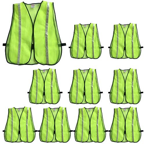 ZOJO High Visibility Safety Vests,Adjustable Size,Lightweight Mesh Fabric, Wholesale Reflective Vest for Outdoor Works, Cycling, Jogging, Walking,Sports- Fits for Men and Women (10 Pack, Neon Yellow) (Vests Safety Lights)