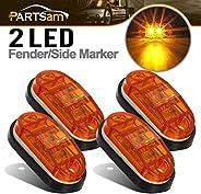 4Pcs 2.5 Inch Oval Amber Led Side Fender Marker Lights 2 LED Waterproof Truck Trailer RV ATV Camper Boat Marin