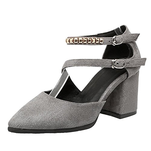 Mee Shoes Damen chunky heels ankle strap Schnalle Sandalen Grau