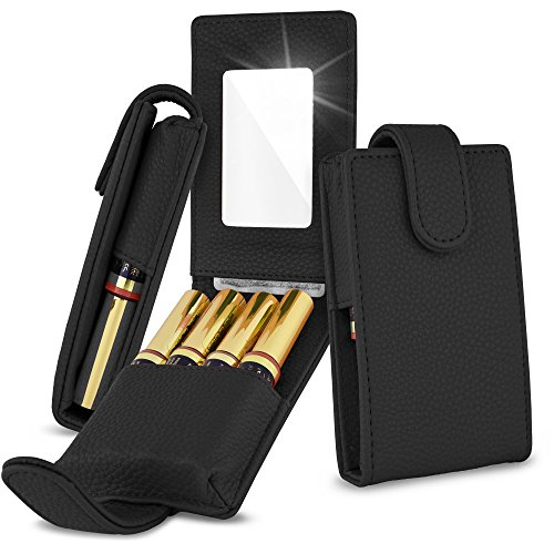 Celljoy Case for LipSense, Younique, Kylie Cosmetics, Liquid Lipsticks and Lip Gloss with Mirror - Fits 4 Tubes Mirror Card Slot - Travel Purse Storage (Black)