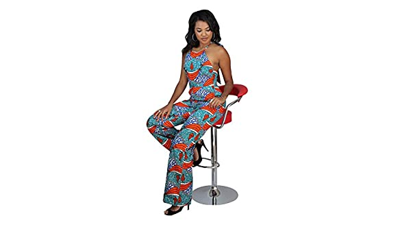 3ad09d6bbe Amazon.com  Ashanis Women s Dinah African Print Jumpsuit - Teal  Clothing