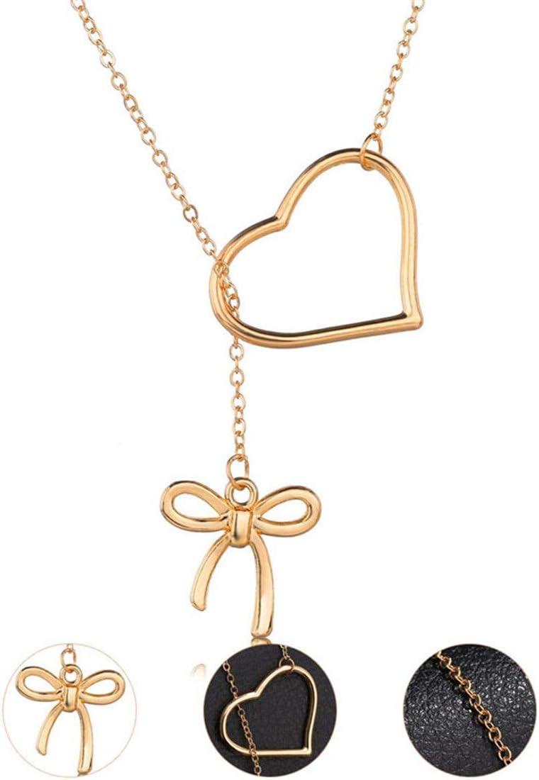 I-Light-T Japonés y Coreano diseño Original Ajustable Simple Estudiante en Forma de corazón Cadena de clavícula Arco Collar Femenino Accesorios 3 Sets