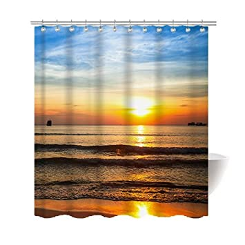Amazon Gwein Sunrise On The Beach Shower Curtain Polyester