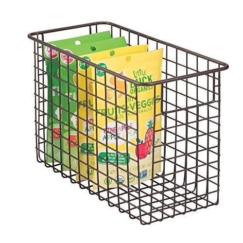 mDesign Household Metal Wire Storage Organizer Bins Basket with Handles for Kitchen Cabinets, Pantry, Bathroom, Landry Room, Closets, Garage - 12 x 6 x 8, Bronze